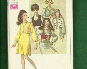 Vintage 1968 Simplicity 8078 Boho Chic Puff Sleeve Dress Size 14