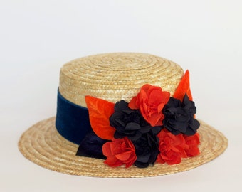 Dunfermline - Straw Boater hat with blue and orange flowers and leaves