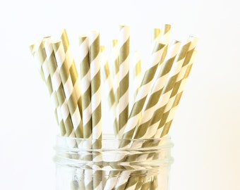 Gold Stripe Party Straws, Gold Wedding Straws, Gold Paper Straws, Gold Straws, Mason Jar Straws, Baby Shower, Gold Party Decor, Bar Straws