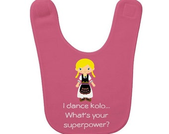 Customized Serbian Girl Kolo Dancer Baby Bib