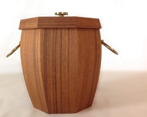 Vintage Mid Century Teak And Brass Handled Ice Bucket Wood Ice Bucket With Clean Aluminum Lining