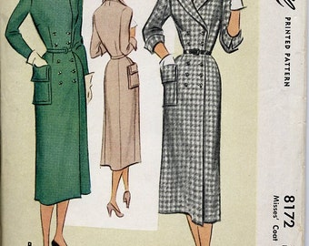 Elegant Fitted Coat Dress, 1950s Pattern, McCall, Size 12