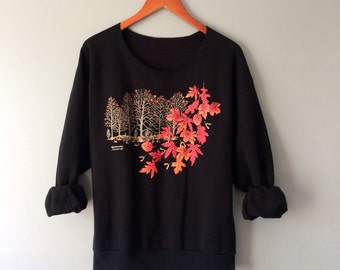 Vintage Fall Autumn Sweatshirt Thanksgiving Halloween Sweatshirt Foliage Scenic Picture Graphic Printed Forest Leaves Top Medium Large XL