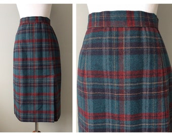 Vintage Pencil Skirt Wool Plaid Preppy Skirt Sexy Librarian PinUp Slim High Waist Teal Blue Maroon Black Knee Length Size 6 8 Small Medium