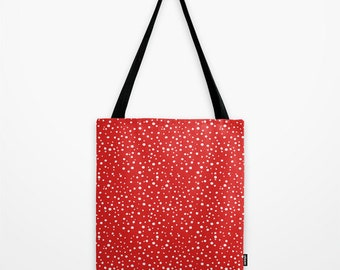 Christmas Red & White Polka Dots Tote Bag, Snow Polkadot Pattern Printed Shoulder Bag, Shopping Bag, Handbag, Gift Bag