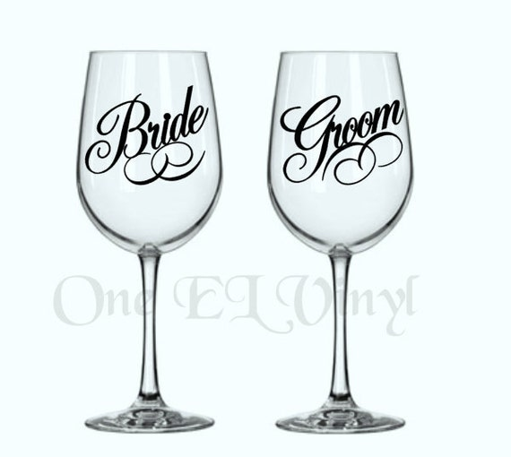DIY Decals Bride And Groom Or Brides Or Grooms Vinyl - How to make vinyl decals for wine glasses