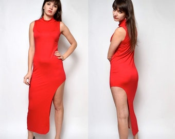 Vintage 90's Avat Garde Red Long Maxi Sleeveless Turtleneck Dress