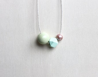hand painted necklace, geometric necklace, wood necklace, light green, mint, rosy