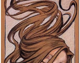 Woman - art nouveau painting - Pastel paint - GICLÉE PRINT