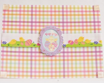 "Easter Card - Spring Plaid ""Peep Peep"" Chick & Easter Egg"