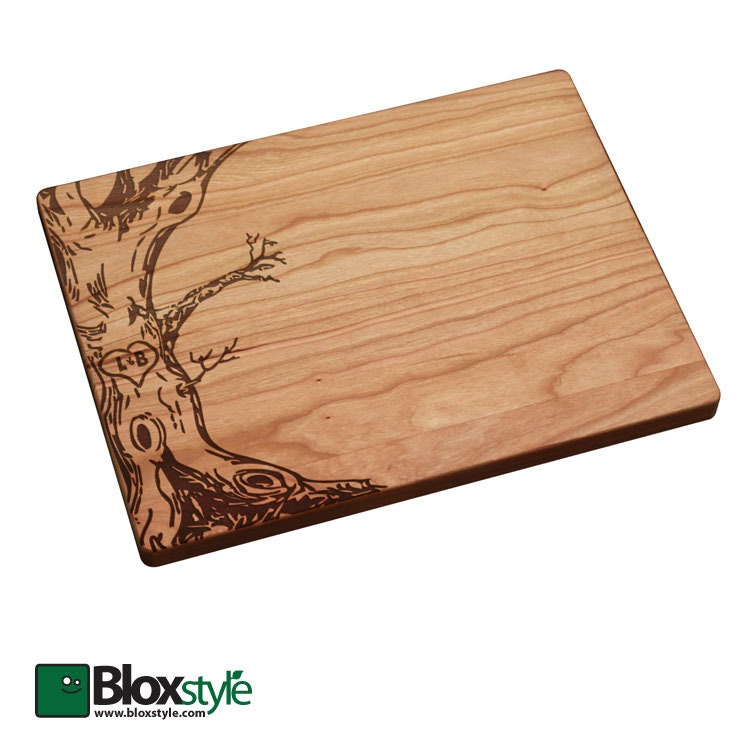 Personalized Engraved Cutting Board With Tree Initials