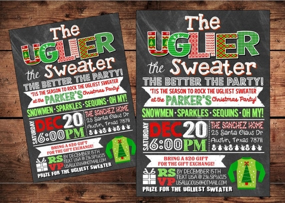 The Uglier the Sweater the Better the Party Invitation