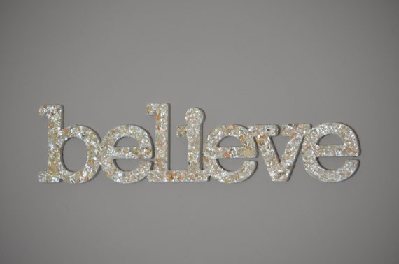 believe sign wall decor sea shell home decor by