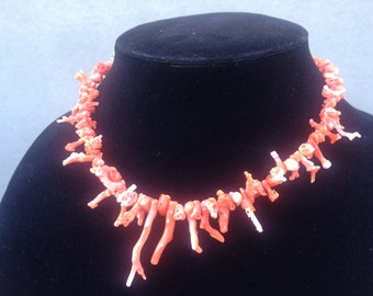 Pink coral branch necklace, vintage new
