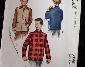 McCall 7846 Boy's Shirt/Jacket 1940s 40s Vintage Sewing Pattern Size 12