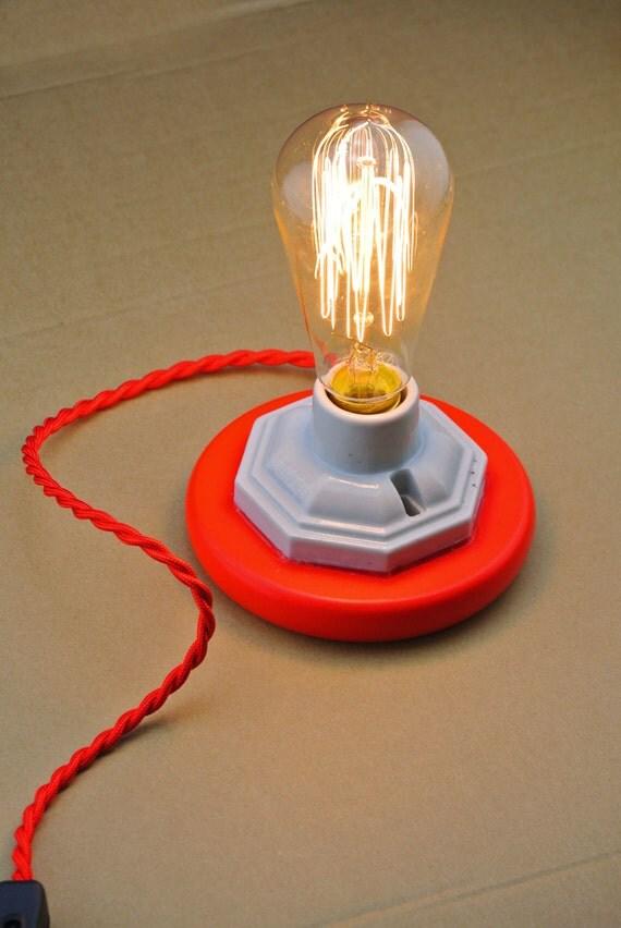 large ceramic table lamp red wooden base vintage style. Black Bedroom Furniture Sets. Home Design Ideas
