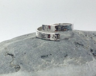 Adjustable textured Sterling Silver Ring / Thumb Ring