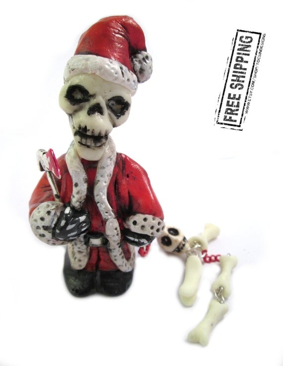 Creepy Santa Claus figurine psychobilly horror art zombie decor the misfits skeleton weird xmas ornament scary evil santa gothic christmas