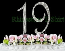 New Large Rhinestone NUMBER (19) Cake Topper 19th Birthday Party Free Shipping Give It As Gift