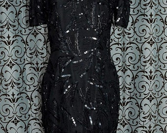1990s Black Silk Sequin & Bead Trim Short Mini Special Occasion Cocktail Dress