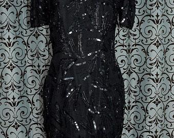 1990s Black Silk Sequin & Bead Trim Short Mini Special Occasion Cocktail Dress
