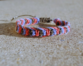 Chocolate and Berries Fishbone Hemp Bracelet
