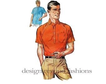 1960s mens sports shirt short ragla n sleeves tab front or button