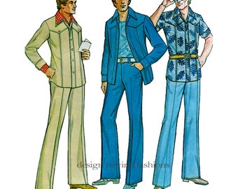 1970s MENS SHIRT PATTERN Jacket Pattern & Pants Pattern Leisure Suit Hipster Jacket Chest 38 McCalls 4458 UNCuT Vintage Mens Sewing Patterns