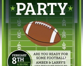Football Invitation • Superbowl • Tailgate Party Invitations • Football Birthday Invites