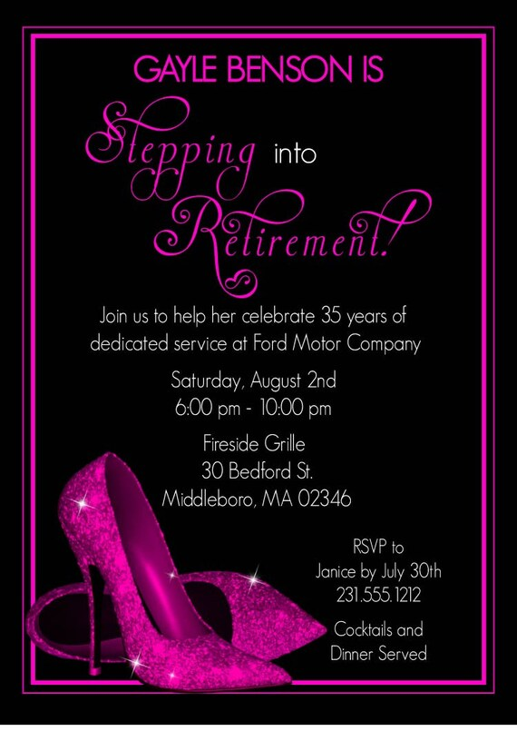 Pink Glitter Shoes Retirement Party Invitation Printable
