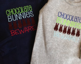 Chocolate Bunnies Beware- Baby Onesie- size 6 months-Ready to Ship