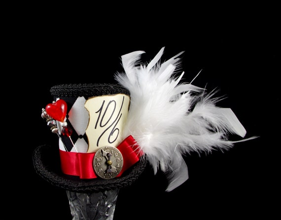Queen of Hearts - Black, White, and Red Harlequin Medium Mini Top Hat Fascinator, Alice in Wonderland, Mad Hatter Tea Party, Derby Hat
