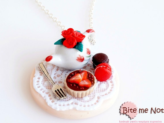 Mini Food Roses,Tart and Macarons Necklace, Miniature Food Jewelry, Polymer Clay Sweets, Food Jewelry, Handmade Necklace, Kawaii Jewelry