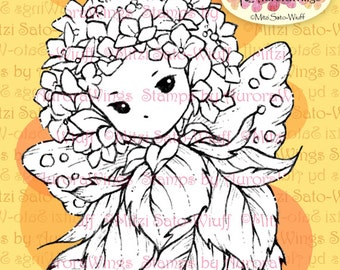 PNG Digital Stamp - Whimsical Hydrangea Sprite - Instant Download - digistamp - Fantasy Line Art for Cards & Crafts by Mitzi Sato-Wiuff