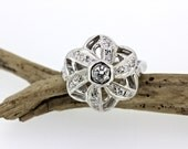RESERVED Vintage Diamond Ring | Mid Century Ring | Estate Ring | 1950s Ring | Engagement Ring | Cluster Ring | 14k White Gold Ring | Size 6