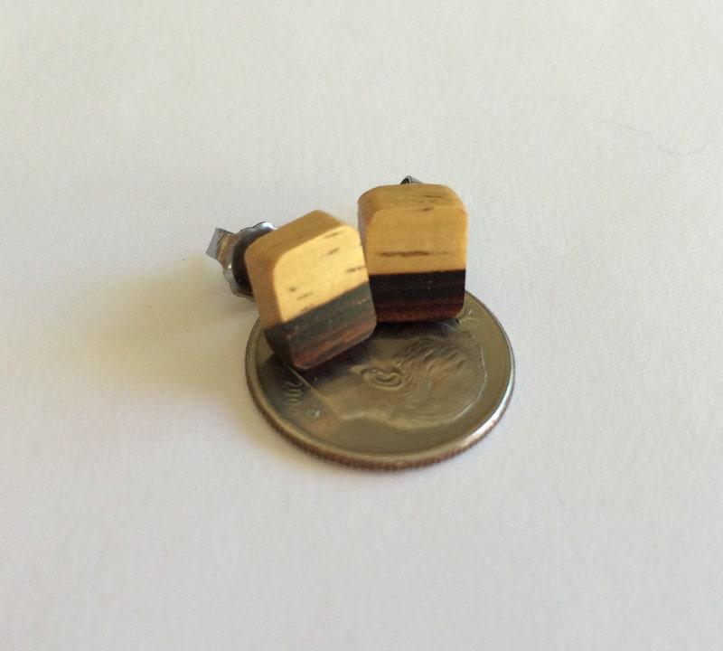 Wood Stud Earrings Cocobolo Rosewood Showing Sapwood By