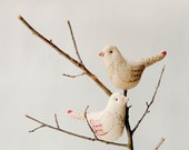 Lovebirds couple in Beige - Birds Hanging ornaments or cake toppers - Embroidered Upcycled Bird decorations