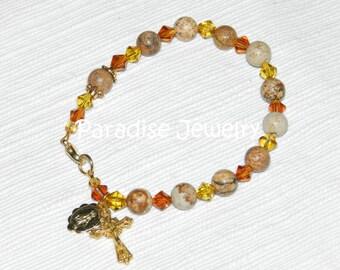Rosary Bracelet, Jasper and Glass Beads Crucifix and Miraculous Medal Charms, Gemstone Bracelet, Catholic Bracelet, Catholic Gifts