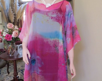 Sheer Vibrant  Pink Caftan, Beach Coverup, Womens Tunic, Beach Kaftan, Beach Dress, Sheer Blouse