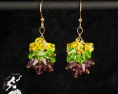Mardi Gras Purple Green and Yellow Crystal Cluster Earrings