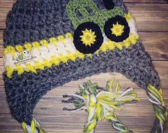 Crochet Tractor hat, John Deere inspired. Toddler boy, baby boy, baby shower gift, birthday gift, photo prop, John Deere