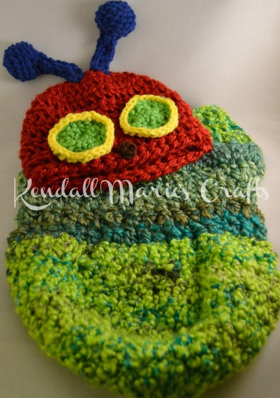 Crochet Caterpillar Hat Pattern : Crochet PATTERN Newborn Hungry Caterpillar Hat and by ...