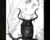 Horned Owl - Collector's Edition print - Limited edition to 20 ex. - Signed, numbered and embossed - 19,7/15,7in - Fantasy Art