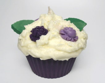 Jumbo Floral Cupcake Candle - Choose Your Color and Scent