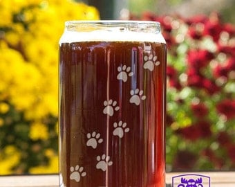 Cat Track Paw Prints Customizable Etched Beer Can Glass Glassware Gift