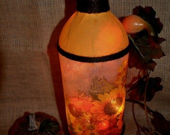 "SUNFLOWERS lamp in yellow, oranges, browns,Beautiful addition to your home!  Nightlight, lamp, home decor. 14"" tall, lights are replaceable."