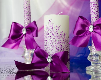 Lace Purple Wedding Unity Candles  from the collection of LACE\candle handmade\Personalized Wedding Candle/3pcs/