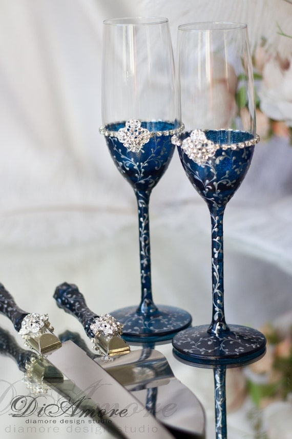 Navy Blue Silver Personalized Toasting Flutes Wedding