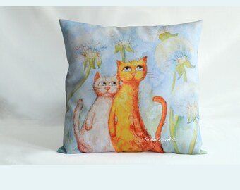 Cushion Cover Сats in the  blowball Throw Pillow Cats Decorative Pillow Couple Cats Painting Cat Pillow Blue Orang Pink Cat Cat Art