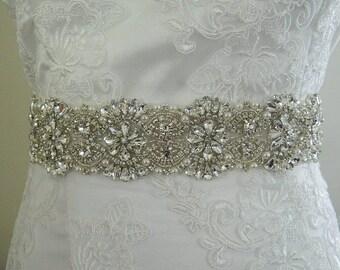 Wedding Sash,Crystals Sash, Bridal Rhinestone Sash, Ivory Rhinestone Wedding Sash